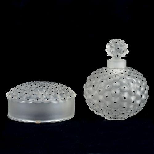 Lalique Cactus Crystal Vanity Set