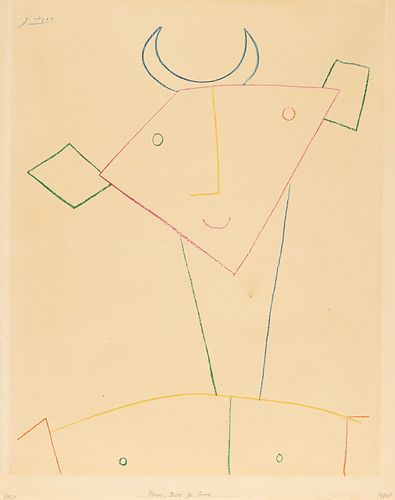 """After Picasso """"Head of Faune"""" Pochoir 1956"""