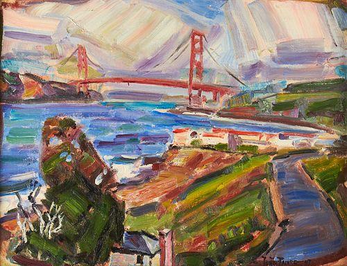 Justin Faivre Golden Gate Bridge Oil on Canvas