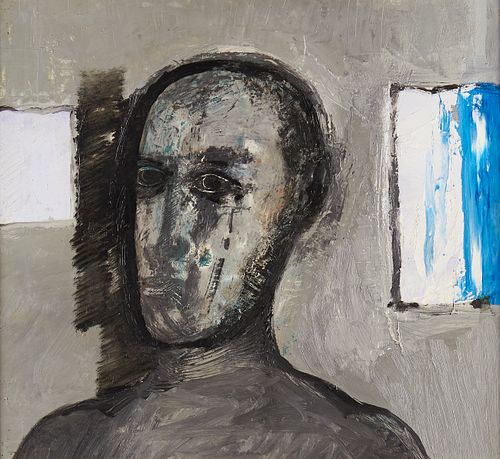 "Peter Shoemaker ""Cold Eye"" Oil on Board 1968"