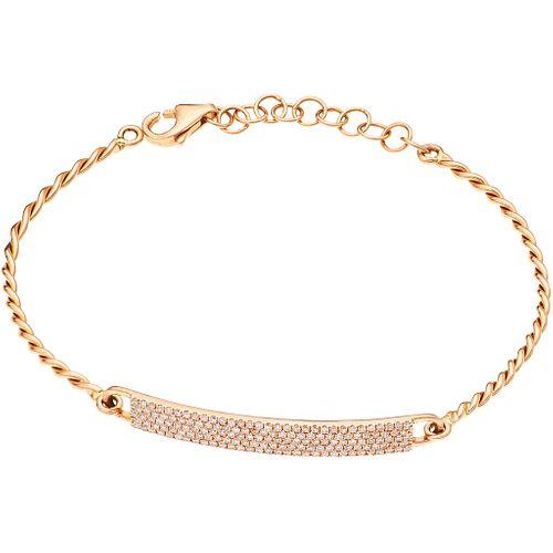 "BRACELET WITH DIAMONDS IN 14K PINK GOLD 153 8x8 cut diamonds ~0.35 ct. Weight: 3.8 g. Length: 5.9"" (15.2 cm)"