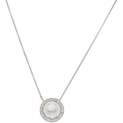 CHOKER WITH CULTURED PEARL AND DIAMONDS IN 14K WHITE GOLD 1 White pearl and 18 Brilliant cut diamonds ~0.36 ct