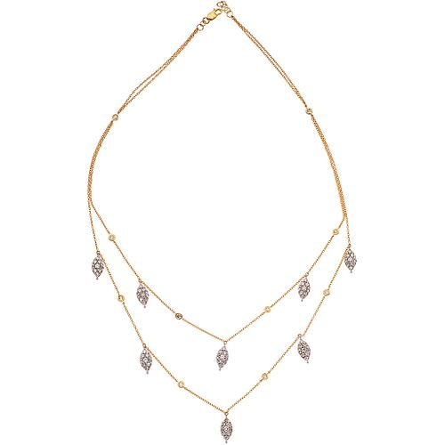 """CHOKER WITH DIAMONDS IN 14K YELLOW GOLD Weight: 9.2 g. Length: 15.9"""" (40.5 cm)"""