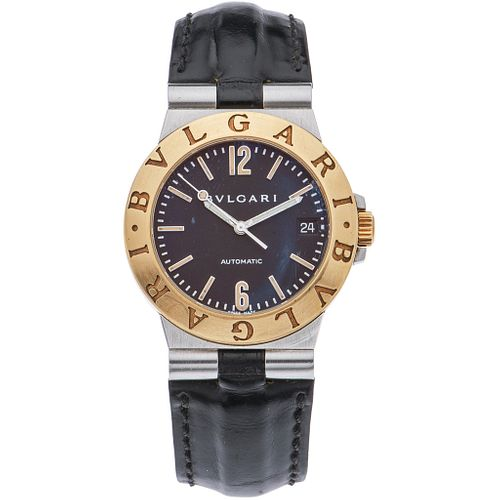 BVLGARI DIAGONO WATCH IN STEEL AND 18K YELLOW GOLD REF. LCV 35 SG  Movement: automatic