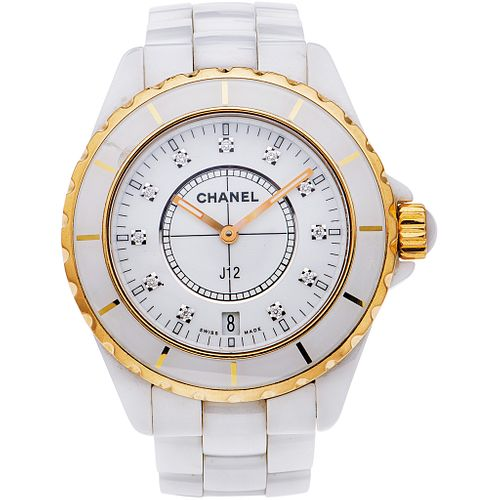 CHANEL J12 WATCH WITH DIAMONDS IN CERAMIC, STEEL AND 18K YELLOW GOLD Movement: quartz