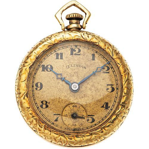 POCKET WATCH ILLINOIS IN 14K YELLOW GOLD Movement: manual. Weight: 16.2 g