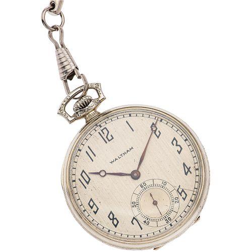 POCKET WATCH WALTHAM IN 14K WHITE GOLD AND ALBERT IN BASE METAL Movement: manual. Weight: 50.0 g
