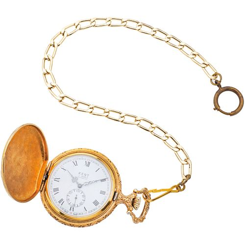 POCKET WATCH KENT IN PLATE AND ALBERT IN BASE METAL Movement: manual.