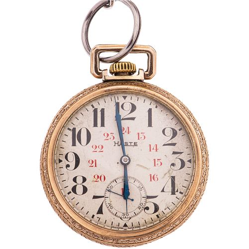 POCKET WATCH HASTE IN PLATE AND ALBERT IN BASE METAL Movement: manual (doesn't work, requires service).