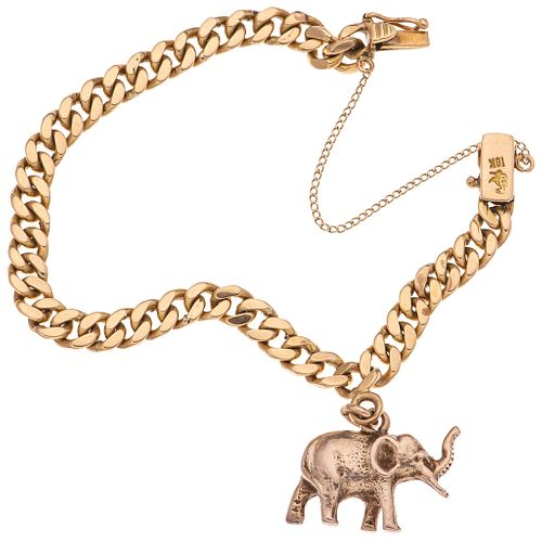 BRACELET IN 18K YELLOW GOLD WITH PENDANT IN 8K YELLOW GOLD AND SAFETY CHAIN IN BASE METAL Weight: 41.9 g