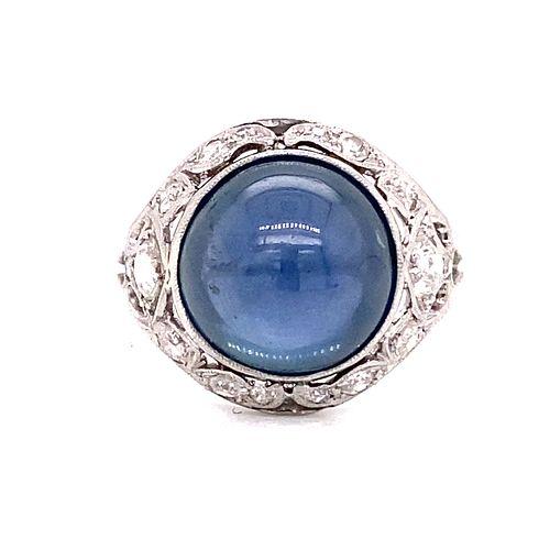 Platinum Ceylon Sapphire Diamond Ring