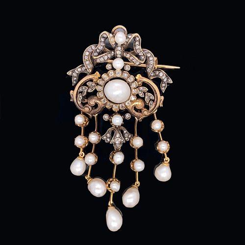 Low Gold Georgian Pearl Diamond Pendant Brooch