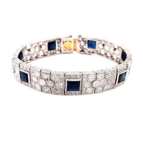 Art Deco Platinum Gold Diamonds & Sapphire Bracelet