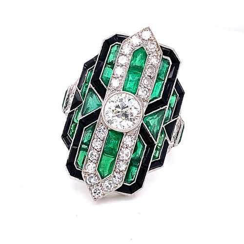 Platinum Emerald Diamond Onyx Ring