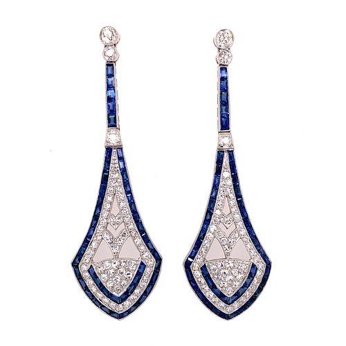 Platinum Diamond Sapphire Long Earrings
