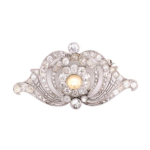 Art Neavou Platinum Diamond Brooch