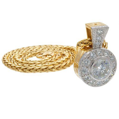 Diamond, Platinum, 18k Yellow Gold Necklace