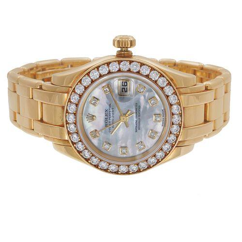 Ladies Rolex Oyster Perpetual Datejust, Diamond, 18k Watch