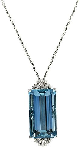 Raymond Yard Platinum Aquamarine Pendant