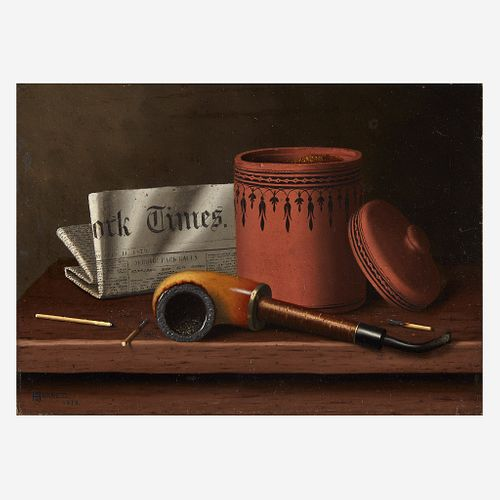 William Michael Harnett (American, 1848–1892) Still Life with New York Times, Tobacco Jar, Pipe and Matches