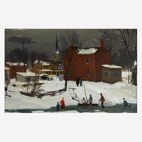 Harry Leith-Ross (American, 1886–1973) Ice Skating Party on the Delaware (Lewes Island)