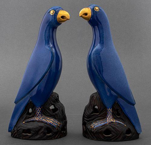 Chinese Export Blue Porcelain Birds, Pair