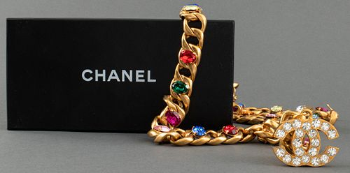 Chanel Gold-Tone Cuban Link And Faux Jewel Belt