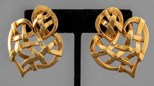 Boris Lebeau 18K Yellow Gold Heart Shaped Earrings