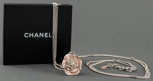 Chanel Silver-Tone Belt With Pink Camellia