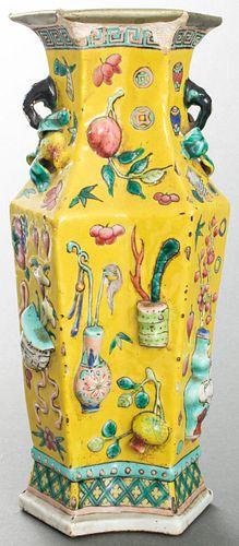 Chinese Famille Jaune Double Vase