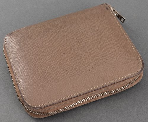 Hermes Tan Leather Silk'in Compact Wallet