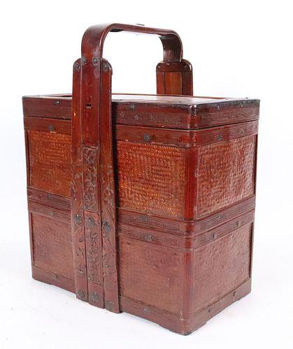 Chinese Bamboo Rectangular Food Basket