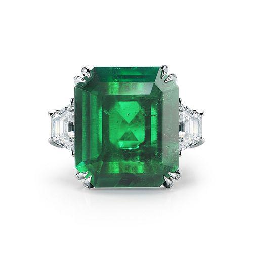 17.81ct Emerald And 4.36ct Diamond Ring