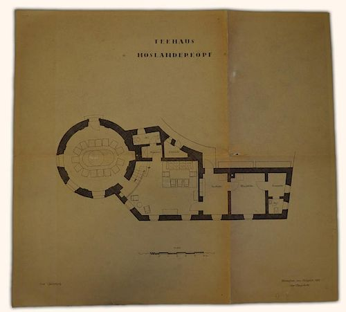 Collection of Original 1937 Hand Drawn Architectural Drawings of Adolf Hitler's Teahouse 'Teehaus Mo
