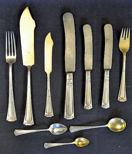 WWII Adolf Hitler and Eva Braun Silver Cutlery Selection to include a fish knife (20cm) and fork (17