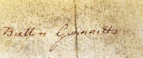 Rare Button Gwinnett 1735-1777 Signature an Englishman born in Gloucester, emigrated to Georgia and
