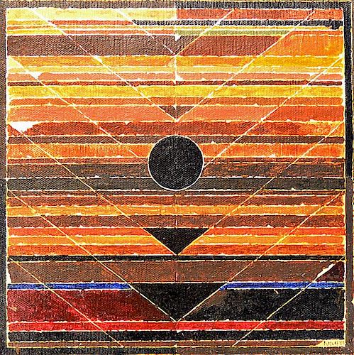Indian Original Artwork Syed Haider Raza (born 22 February 1922) important abstract in acrylic on bo