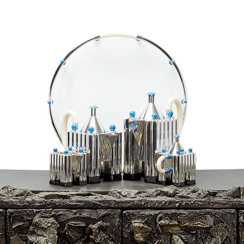 """Michael Graves Five-Piece """"Tea and Coffee Piazza"""", Produced by Alessi, Designed 1983"""