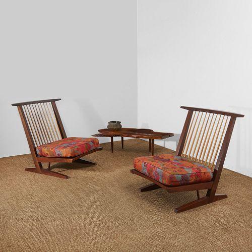 "George Nakashima Pair of ""Conoid Cushion"" Lounge Chairs, New Hope, Pennsylvania, 1964"