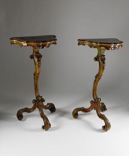 Pair of Hand Painted Venetian Pedestals, circa 1870