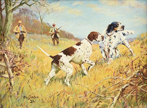 """FRANK HOFFMAN (American 1888-1958) A PAINTING, """"Fall Outing - Dogs on Point,"""""""