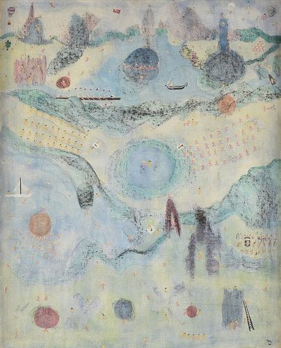 """WILLIAM [BILL] NELSON [CPLY] COPLEY (American 1919-1996) A PAINTING, """"Garden of Earthly Delight,"""" 1960,"""