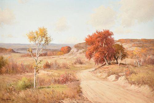 "PORFIRIO SALINAS (Mexican American/Texas 1910-1973) A PAINTING, ""Country Road in Autumn,"" 1957,"