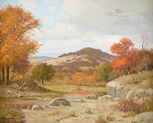 "PORFIRIO SALINAS (Mexican American/Texas 1910-1973) A PAINTING, ""Autumn in the Hill Country,"""
