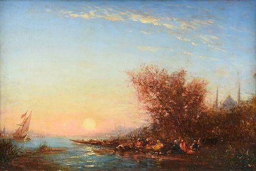"""FELIX FRANÇOIS GEORGES PHILIBERT ZIEM (French 1821-1911) A PAINTING, """"Vue d'Istanbul, Saint Sophie de Kadiköy au Coucher de Soleil,"""""""