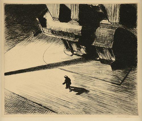 """EDWARD HOPPER (American 1882-1967) A PRINT, """"Night Shadow,"""" 1921-1924,"""