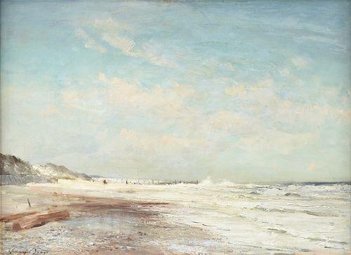 "EDWARD SEAGO (British 1910-1974) A PAINTING, ""North East Wind, Waxham Beach,"" NORFOLK, CIRCA 1959,"