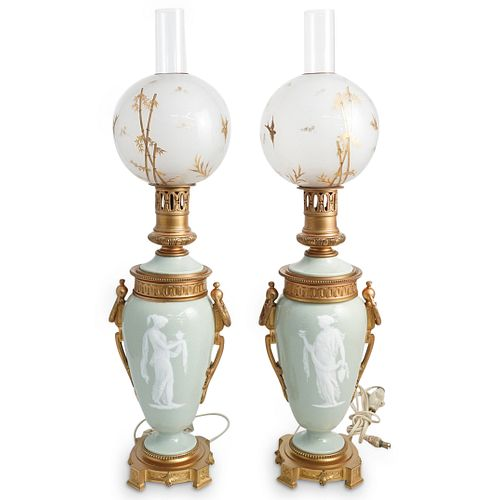 Pair of Pate Sur Pate Bronze Mounted Lamps
