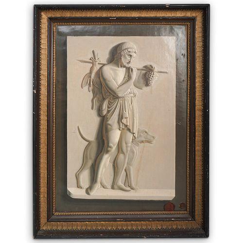 19th cent. Stamped Antinous-Silvanus Trompe-l'oeil Oil Painting