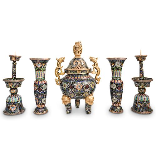 (5 Pc) Qianlong Chinese Cloisonne Altar Set